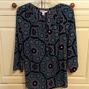 Croft & Barrow Polyester Navy/Turquoise Blouse L